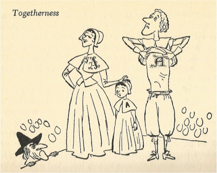 """Campbell Grant's illustration for """"The Scarlet Letter,"""" from Richard Armour's 1960 """"The Classics: Reclassified."""""""