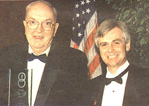 "Sen. Jesse Helms accepts the ""Proudly Pro-Life"" award from the National Right to Life Educational Trust Fund in 1998."