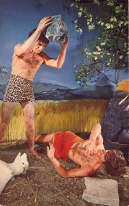 Cain murders Abel before fleeing to take a soulless Neanderthal bride. (Wax museum scene via Bad Postcards Tumblr -- click pic for link.)