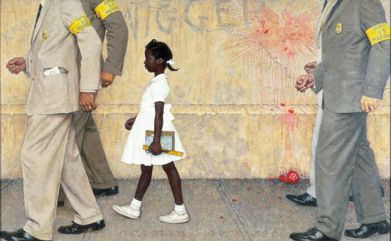 """Norman Rockwell, """"The Problem We All Live With,"""" 1963. How do you come back from being the guy who threw that tomato? Change the subject."""