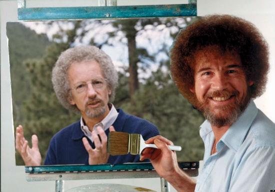 This is a picture of Bob Ross painting Philip Yancey among some happy trees. This is not something that ever really happened, but it should have.