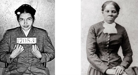 Rosa Parks (left) opposed an unjust law through civil disobedience. Harriet Tubman (right) opposed an unjust law by breaking it and getting away with it.
