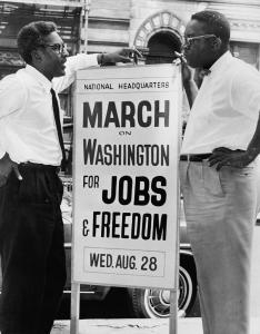 Bayard Rustin (left) and Cleveland Robinson. (Photo by Orlando Fernandez via Wikipedia)