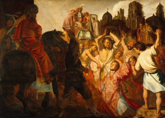 """Saint Stephen was the first Christian martyr. Lucky bastard. (""""The Stoning of Saint Stephen,"""" Rembrandt, 1625)"""
