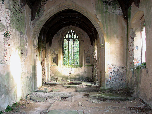 Ruin of St. Peter's Church, North Burlingham, image courtesy of Geograph