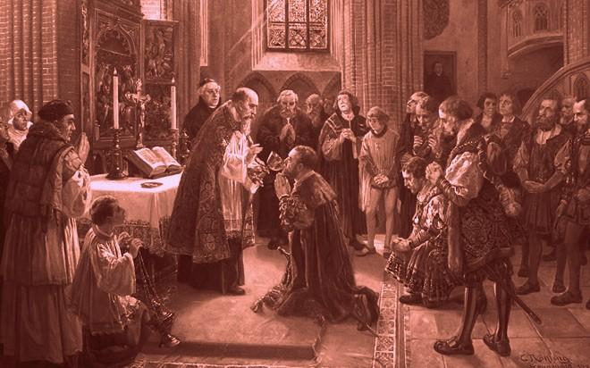 Elector Joachim II of Brandenburg receives communion as a Lutheran for the first time in St. Nikolai Church in Spandau (Carl Röhling, 1913).