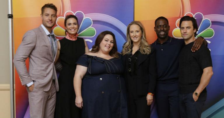 (L-R) Justin Hartley, Mandy Moore, Chrissy Metz, NBC Entertainment President Jennifer Salke, Sterling K. Brown, Milo Ventimiglia (Photo by: Paul Drinkwater/NBC)