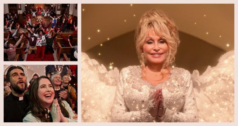 Dolly Parton as an angel, and other cast members from her Christmas movie