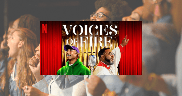 Picture of Pharrell Williams and his uncle Bishop Ezekiel Williams superimposed over a choir singing