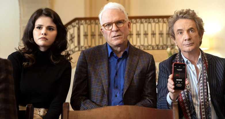 True-crime podcasters (played by Selena Gomez, Steve Martin and Martin Short) record a true-crime podcast