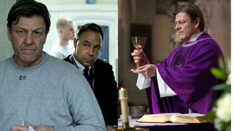 (Left), two men in a British prison; (right) a priest saying Mass
