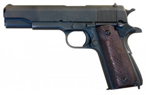 An M1911_A1_pistol, by M62 uploaded to wikimedia commons, http://creativecommons.org/licenses/by-sa/3.0/