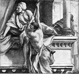 Rahab lowers the Hebrew spies using a rope, a precursor to the Rope Climb.