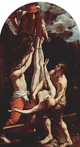 It's not strictly Biblical, but St Peter did the first handstand pushup. With help.