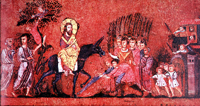 A leaf from Codex Rossanensis, the Rossano Gospels, depicting Jesus' triumphal entry into Jerusalem on Palm Sunday. Image in the public domain.