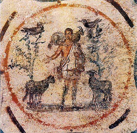 This image of the Good Shepherd, taken in the Priscilla Catacomb of Rome and dating to the 3rd or 4th century, is in the public domain.