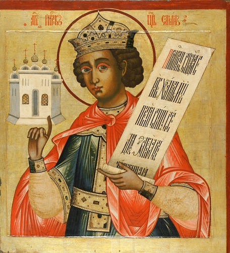 An 18th-century Russian icon of Solomon. Image is in the public domain, and was sourced from Wikipedia.