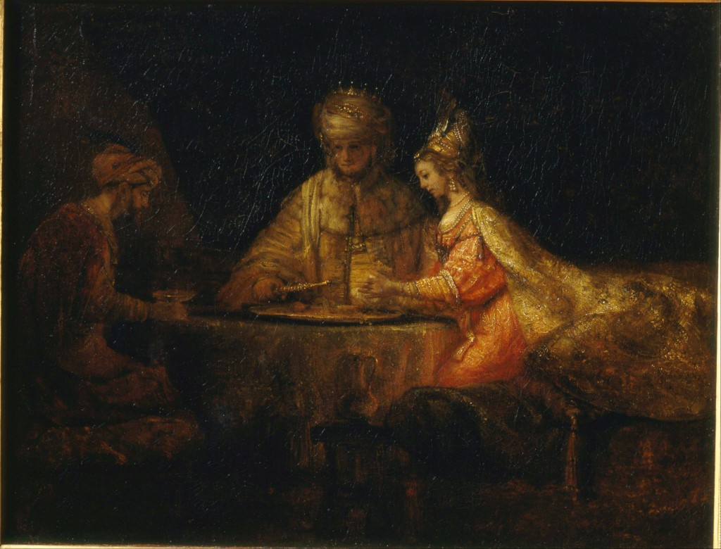 Ahasuerus and Haman at the Feast of Esther, by Rembrandt. Image in the public domain.
