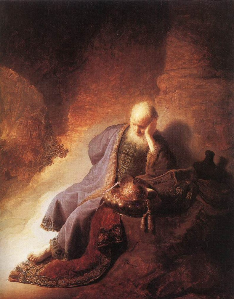 Jeremiah lamenting the destruction of Jerusalem, by Rembrandt.