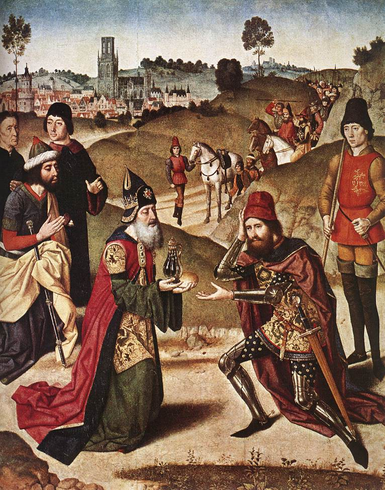 Meeting of Abraham and Melchizedek by Dieric Bouts the elder. Church of St. Peter, Leuven, Belgium. 1464-1467. Image in the public domain, via Wikipedia.