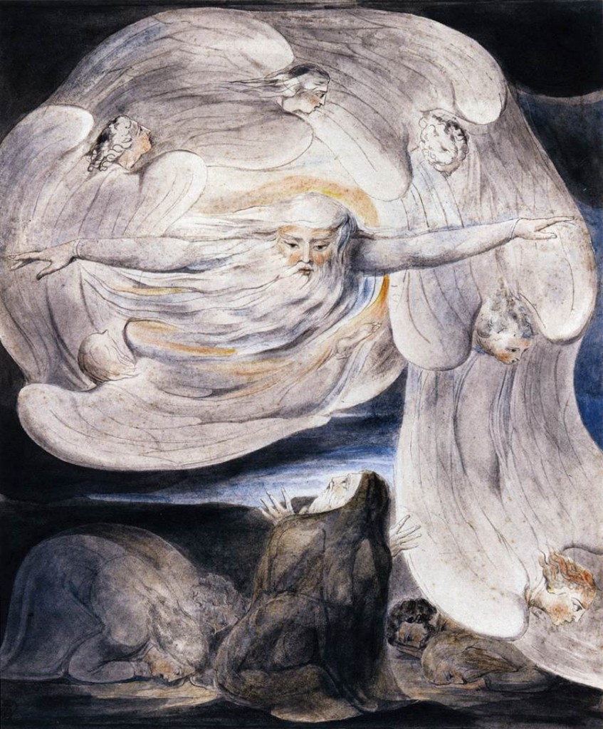 Woodcut by William Blake, of God appearing to Job in the whirlwind. Image in the public domain, taken from Wikipedia.
