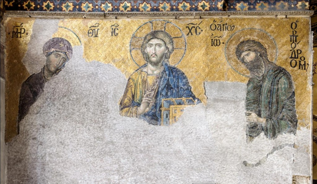 The Deesis Mosaic, at the Hagia Sophia in Istanbul, Turkey, featuring John the Baptist on the left and Mary on the right of Jesus.