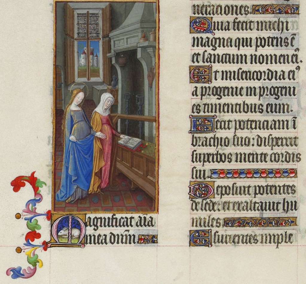 The Visitation, with the text of the Magnificat in Latin, from folio 59 of the Book of Hours. Image in the public domain, taken from wikipedia.