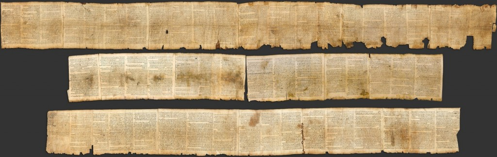 The well-preserved Isaiah Scroll, found at Qumran. Image from Wikipedia, and in the public domain. This is the sort of scroll that Luke is describing.
