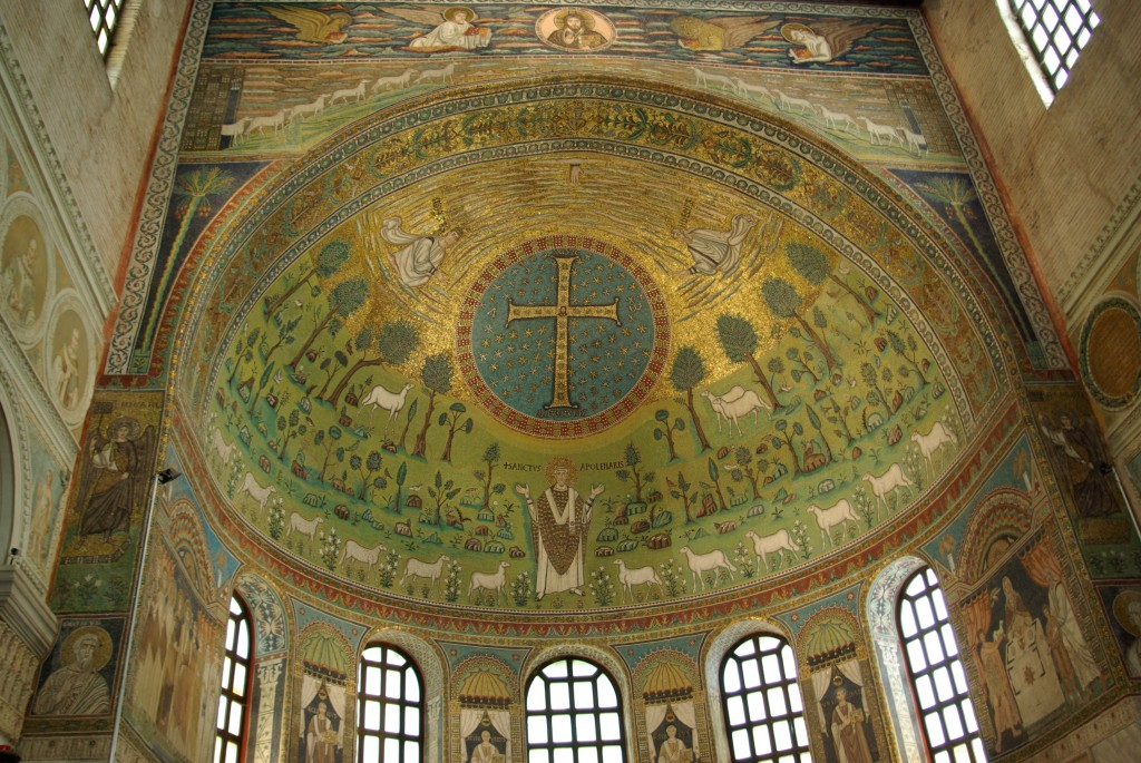 Although it isn't immediately obvious, this famous mosaic at Sant'Apollinare in Classe depicts the Transfiguration. Image in the public domain, taken from Wikipedia.