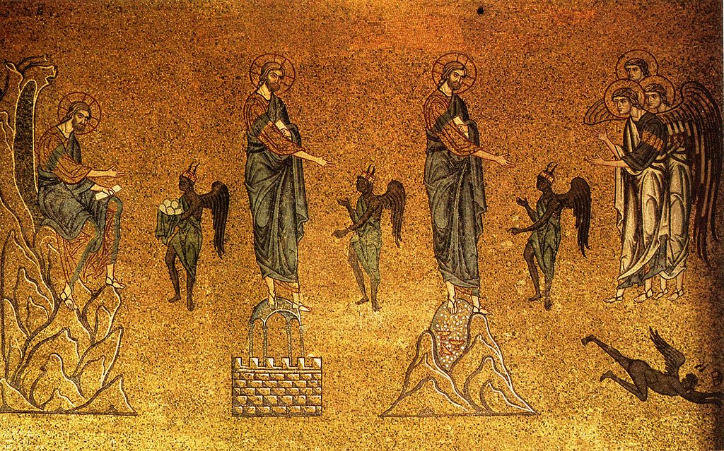 The temptation of Christ, from the Basilica of San Marco in Venice. Image in the public domain, taken from Wikipedia.