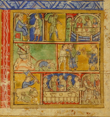 Leaf from the Eadwine Psalter, showing the story of the Prodigal Son. Image in the public domain, taken from Wikipedia.