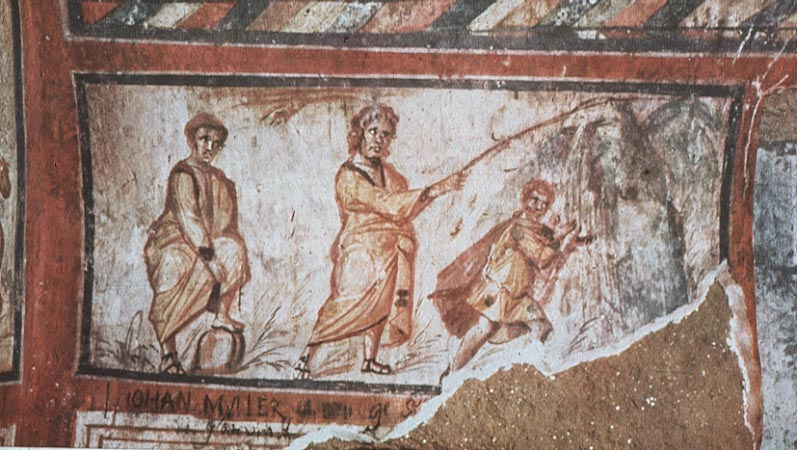 An image from an early Christian catacomb in Rome, of Moses striking the rock. Image in the public domain, taken from Wikipedia.