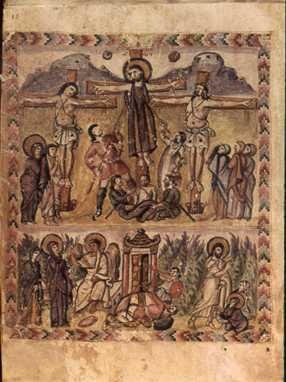 An early depiction of the crucifixion, from the Rabula Gospels, ca. 6th century. Image in the public domain, taken from Wikipedia.