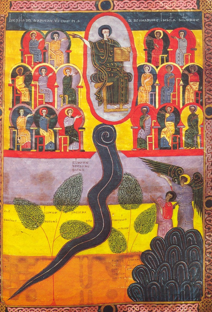 The new Jerusalem and the river of life, B. Facundus, 11th century. Image in the public domain, taken from Wikipedia.