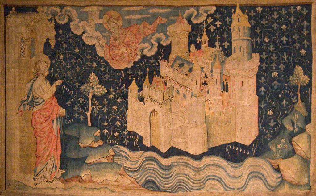 """Image of Jerusalem descending from the sky, from the 14th-century """"Tapestry of the Apocalypse."""" Image in the public domain, taken from Wikipedia."""