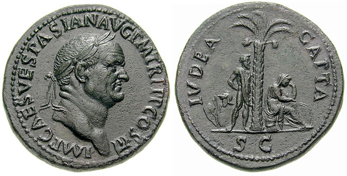 "The famous Iudea Capta coin, which shows Judea as a captive slave and a weeping woman, both under a palm tree. The word ""Iudea"" points to the thin line between ""Jew"" and ""Judean."""