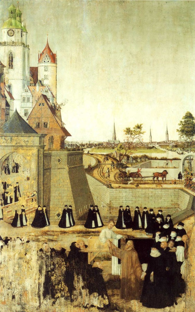 Altar panel by Lucas Cranach the Younger, 1569, depicting the raising of the widow's son at Nain. Found in the Stadtkirche Wittenberg. Image in the public domain, taken from Wikipedia.