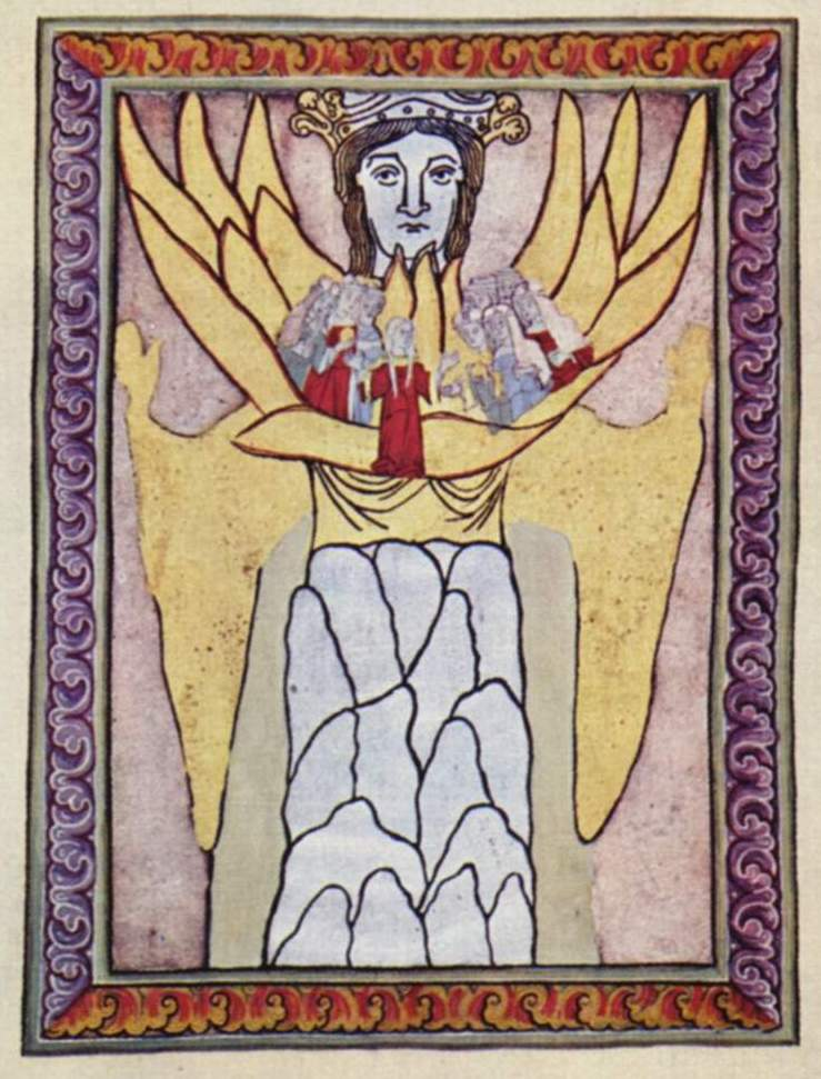Sophia and Ecclesia (Wisdom and the Church), from a medieval book of the visions of Hildegard of Bingen. The modern image is part of a collection compiled by the Yorck Project, is in the public domain, and is taken from Wikipedia.
