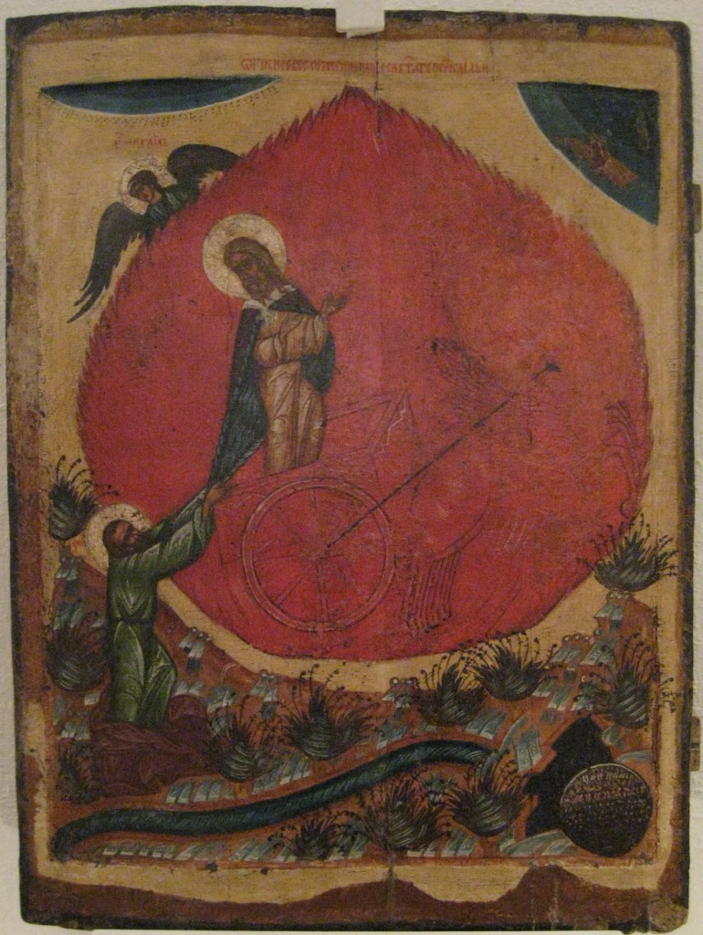 Slavic icon of Elijah's ascension in the chariot. Image in the public domain, taken from Wikipedia.