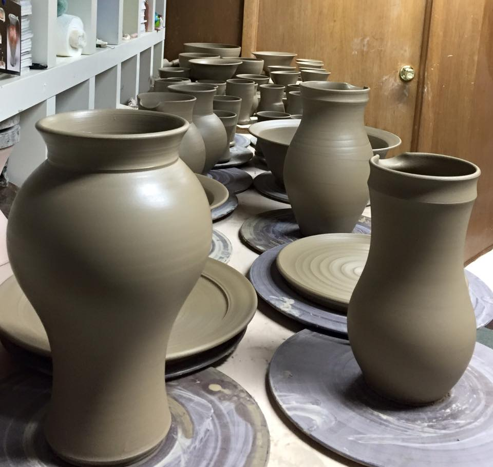 Some of my wife's pottery, in process.