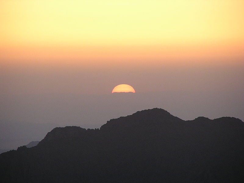 Sunrise over Mt. Sinai. Image by Mabdalla, in the public domain, and taken from Wikipedia.