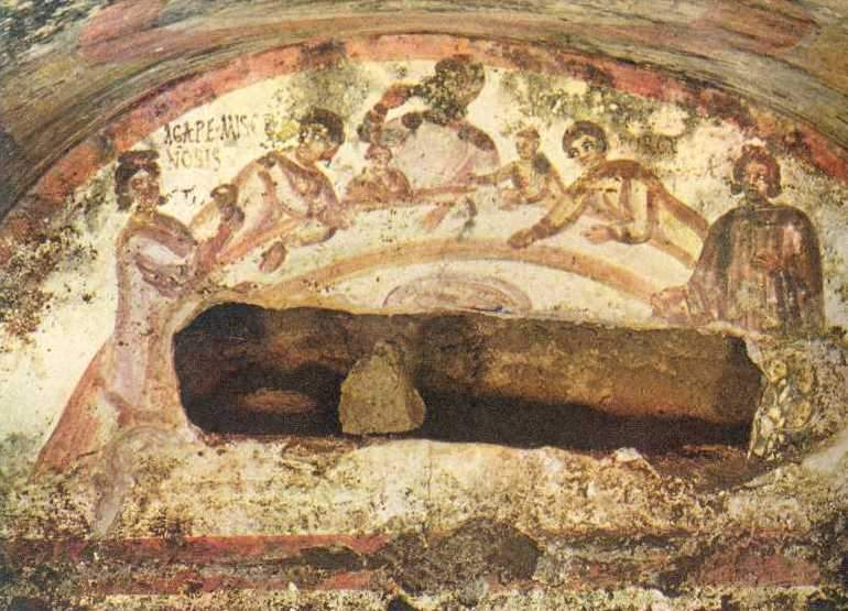Christian banquet scene, catacomb of Peter and Marcellinus, Rome. Image in the public domain, taken from Wikipedia.