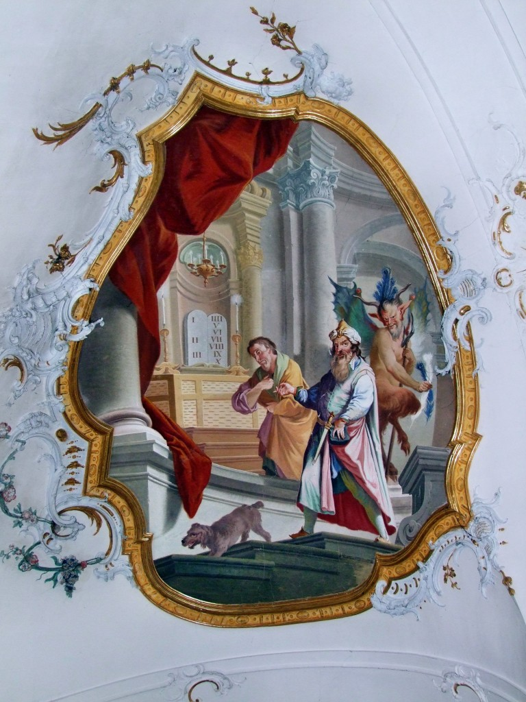 The Pharisee and the Publican, Baroque fresco in the Ottobeuren Basilica. Photo by Johannes Böckh and Thomas Mirtsch, licensed under creative commons attribution-share alike 3.0 (https://creativecommons.org/licenses/by-sa/3.0/), taken from Wikipedia.