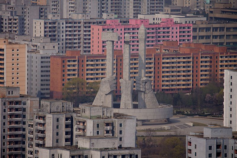Pyongyang; https://commons.wikimedia.org/wiki/File%3APyongyang%2C_North_Korea%2C_Monument_to_the_Founding_of_the_Worker's_Party_01.jpg; By Joseph Ferris III (Flickr: Pyongyang, North Korea) [CC BY 2.0 (http://creativecommons.org/licenses/by/2.0)], via Wikimedia Commons