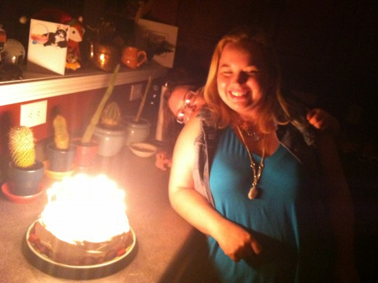 Birthday!  The cake glows with witchcraft.