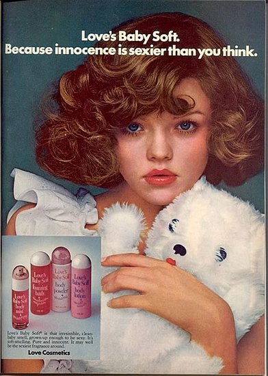 Love's Baby Soft perfume ad. I still can't believe girls wore this in the 80s. It smelled exactly like baby powder.