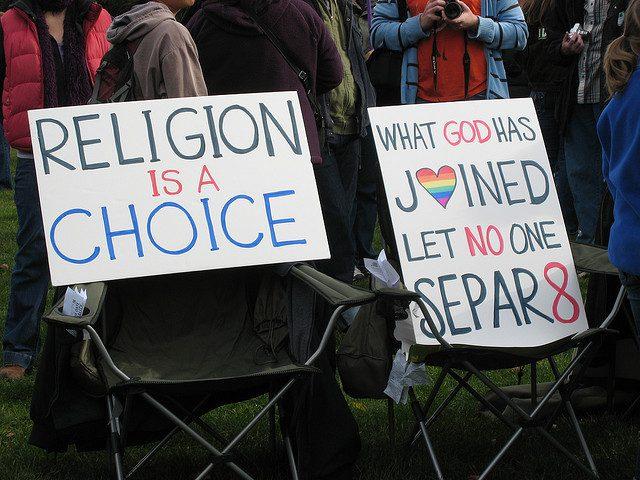 """Religion is a choice. What God has joined, let no one SEPAR8."" (Credit: Regina Buenaobra, CC-NoDeriv license.)"
