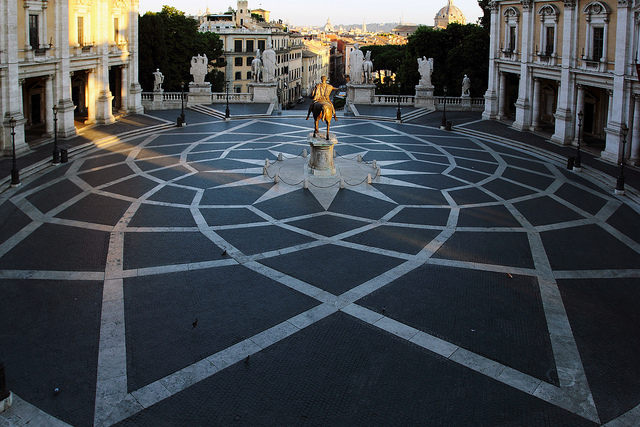 The Piazza del Campdoglio in Rome. (Credit: Bruno, CC license.)