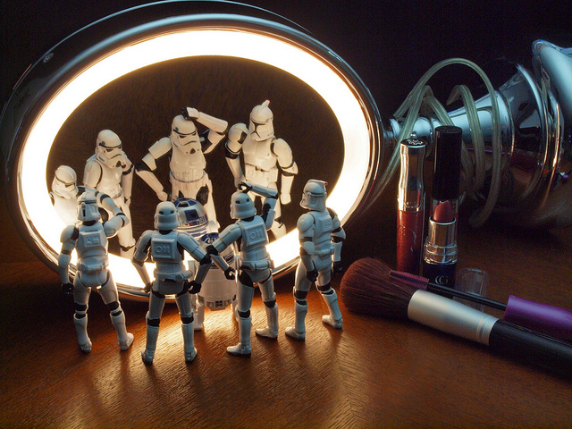When we look in the mirror, what we see sometimes puzzles us. (Credit: Jim Bauer,   CC license.) BTW: There are at least three different kinds of Stormtrooper here. If you name them all, you get ten extra Nerd Points.