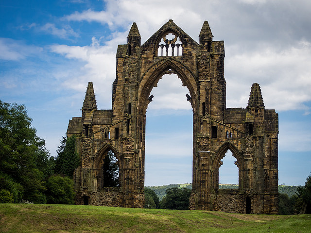 The abandoned west gate of an Augustinian priory. (Credit: Archangel12, CC license.)